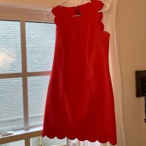 J.Crew Coral Red Scalloped Shift Dress sz. 00
